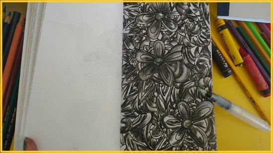técnica anti estresse para livros de colorir usando lápis de cor e giz de cera aquarelável