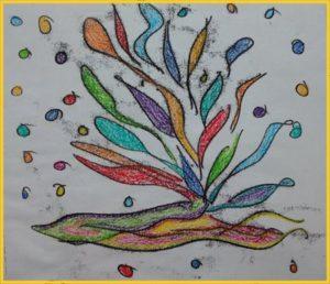 Monotipia com tinta de impressão. Depois, colori com giz pastel oleoso